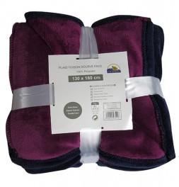 Plaid polaire velours bicolore Toison prune Ourson