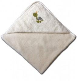 Cape de bain coton bio brodée Tortue