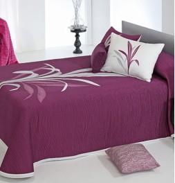 Couvre-lit tissé jacquard réversible Lynette violet - revers