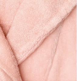 Peignoir court à capuche Constance rose poudré zoom
