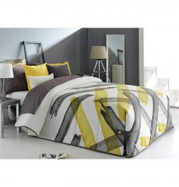 Coussin Bronson jaune avec le couvre-lit Aren jaune