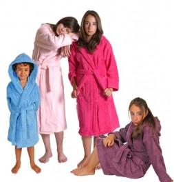 Peignoirs enfants unis capuche coton 450g/m² 11 coloris