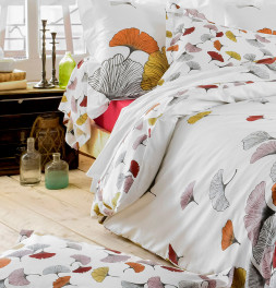 Housse de couette percale Ginkgo rose zoom