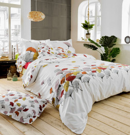 Housse de couette percale Ginkgo rose Tradilinge