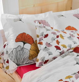 Taie d'oreiller percale Ginkgo rose Tradilinge