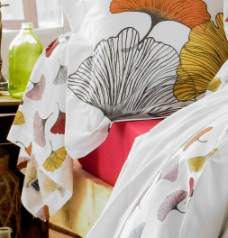 Taie de traversin percale Gingko rose Tradilinge