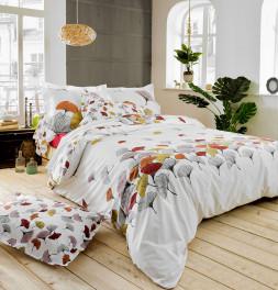 Parure de lit percale Ginkgo rose Tradilinge