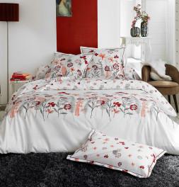 Parure de lit percale Petite Folie rouge Tradilinge