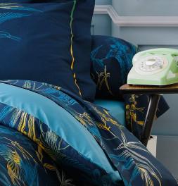 Drap-housse bleu paon Kimono Tradilin