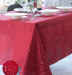 Nappe polyester Perledo rouge Calitex