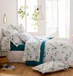 Parure de lit percale Flâner jade Tradilinge