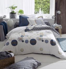 Parure de lit percale Roméo bleu Tradilinge