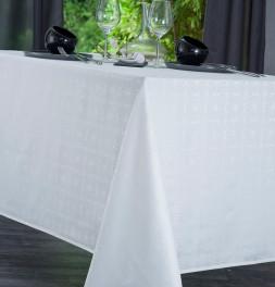 Nappe damassée polyester Venezia blanc Nydel
