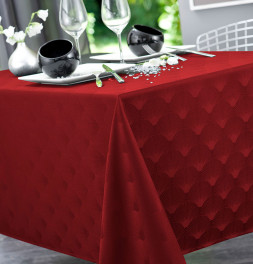 Nappe damassée polyester Scale rouge Calitex