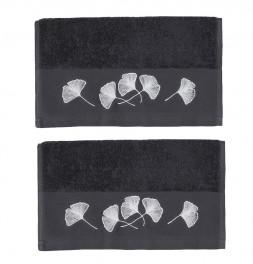 Lot de 2 serviettes de toilette Ginkgo carbone Sensei