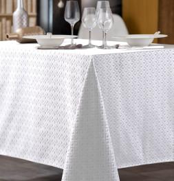 Nappe damassée polyester Trigone blanc Calitex