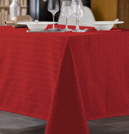 Nappe damassée polyester Trigone rouge Calitex