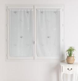 Paire vitrages étamine Ginkgo gris Qabane