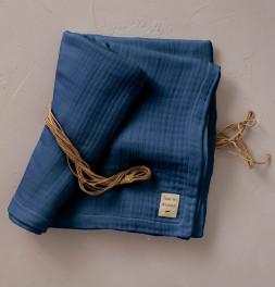 Plaid gaze de coton Tout en douceur bleu Sylvie Thiriez