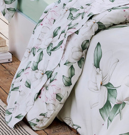 Housse de couette percale Magnolia sauge