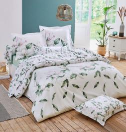 Parure de lit percale Magnolia sauge Tradilinge