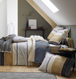 Parure de lit percale Marlow acier Tradilinge