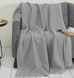 Plaid gaze de coton Loft gris perle