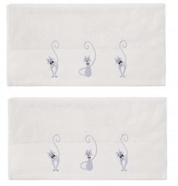Serviette de toilette Chat malo blanc cassé Sensei