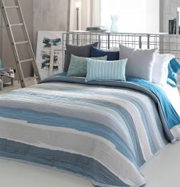 Couvre-lit tissé jacquard Marea bleu