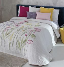 Couvre-lit tissé jacquard Olea rose