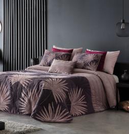 Couvre lit matelassé jacquard Alexia violet Antilo