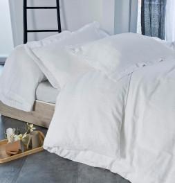 Parure de lit coton bio et chanvre Organic blanc Nydel