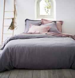 Parure de lit coton bio et chanvre Organic cendre et rose poudré Nydel