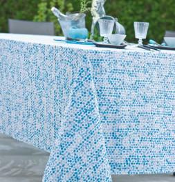 Nappe coton enduit Perle bleu Nydel