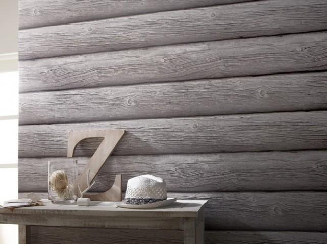 Blancollection tendance papier peint - Papier peint imitation lambris bois ...