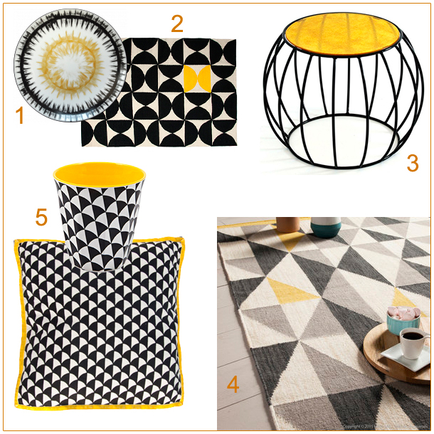 blancollection deco noir et jaune. Black Bedroom Furniture Sets. Home Design Ideas